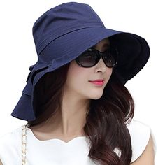 b002661cdc3 Siggi Summer Bill Flap Cap SPF 50 Cotton Sun Golf Hat with Neck Cover Cord  Crushable Wide Brim for Women Navy
