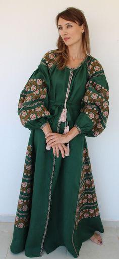 Fanm Mon Dark Green Linen Copper Blush Vyshyvanka MAXI Dress Copper Blush Embroidery. Sizes - XS-XXL MX042-01