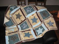 Rag Quilt PATTERN Star Applique Rag Quilt Baby Blanket, SEWING Instructions, Instant Download