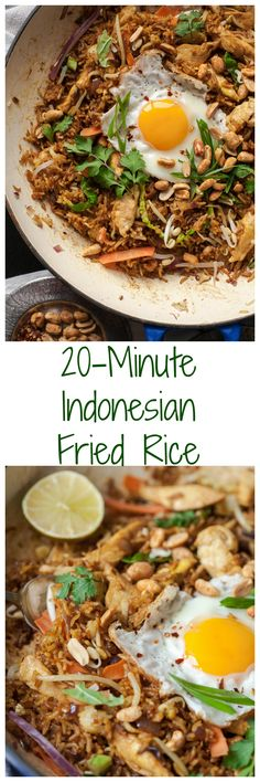 the takeout and make this Indonesian Fried Rice Nasi Goreng instead!Skip the takeout and make this Indonesian Fried Rice Nasi Goreng instead! Rice Recipes, Asian Recipes, Dinner Recipes, Cooking Recipes, Healthy Recipes, Ethnic Recipes, Punch Recipes, Indonesian Fried Rice Recipe, Indonesian Food