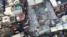 【台湾南部・高雄市で6日午前3時57分(日本時間同4時57分)、マグニチュード(M)6.4の地震。】 Aerial picture shows a site where buildings collapsed after a powerful earthquake hit Tainan, southern Taiwan
