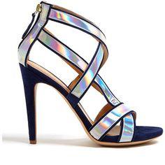 Aperlai Paris St Tropez Holographic Strap Sandals