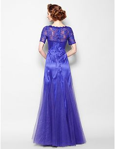 Mother of the Bride Dress Floor-length Short Sleeve Tulle A-line Dress – CAD $ 194.59