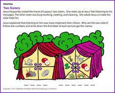 Two Sisters (Mary and Martha) - Kids Korner - BibleWise Bible Activities, Color Activities, The Other Sister, Mary And Martha, Two Sisters, Activity Sheets, Bible Stories, New Testament, Sunday School