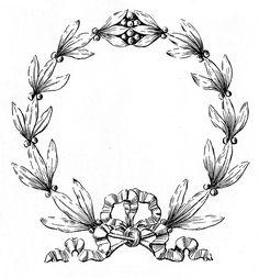 Vintage Christmas Clip Art - Laurel Wreath Frame - The Graphics Fairy