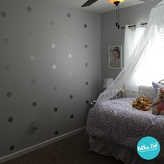 Our Metallic Silver Polka Dot Wall Decals come in several sizes ranging from 1 inch up to 22 inches in diameter (edge to edge). You can put our metallic silver dots on any smooth flat surface like lig