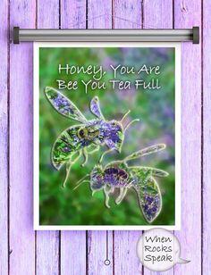 Honey Bee Garden Art Tea Time Art Floral Art by WhenRocksSpeak