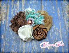 Brown Turquoise Cream Headband Hair Accessories by CrowningPetals, $18.50