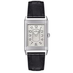 Jaeger LeCoultre Grande Reverso Ultra Thin White Dial Black Leather... (€3.270) ❤ liked on Polyvore featuring jewelry, watches, rectangle watches, white dial watches, analog wrist watch, thin dial watches and dial watches