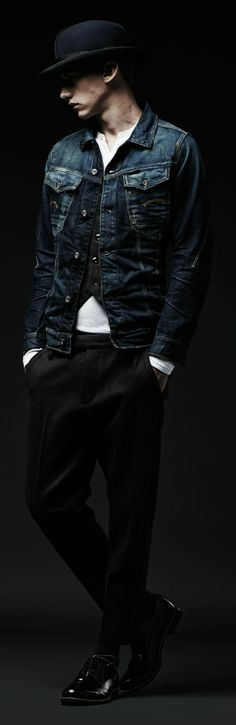 G-STAR RAW MIDNIGHT COLLECTION LAST-MINUTE DRINKS Classic menswear styling with denim details fit for a banquet