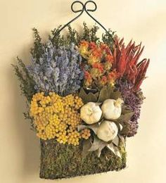 """CULINARY HERB Dried Flower WALL HANGING BASKET 16""""H Garlic Home Decor Dried Flower Arrangements, Dried Flowers, Baskets On Wall, Hanging Baskets, French Country Decorating, Country French, French Decor, Hanging Flower Wall, Nature Crafts"""