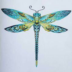 Secret Garden by Johanna Basford, coloring by Dawn. Picture / delivered Source by caede Dragonfly Tattoo Design, Dragonfly Art, Dragonfly Tatoos, Dragonfly Drawing, Tattoo Designs, Tante Tattoo, Compass Tattoo, Enchanted Forest Coloring Book, Johanna Basford Coloring Book