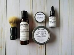 THE ULTIMATE SHAVING KIT FOR THE BEARDED (OR MUSTACHED) MAN [Includeds the following]: 4oz Aftershave, 4oz Shaving Soap, 1 faux boar bristle brush, 1 oz beard balm, 20ml beard oil This is the perfect gift set for the well groomed bearded (or mustached man). This wet shaving and