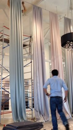 Silk/Wool banners in the process of being hung for Focus'14