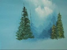 Paint Trees-Four Kinds:Pine,Cypress,Palm,Birch-w/Marge KInney Acrylic Painting Tutorials, Watercolour Tutorials, Painting Videos, Painting Lessons, Painting & Drawing, Watercolor Video, Watercolor Trees, Pine Tree Painting, Bob Ross Paintings