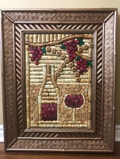 250 Natures Bounty Beautifully framed with an antique copper Bamboo frame Measures x Wine Craft, Wine Cork Crafts, Wine Bottle Crafts, Wine Cork Projects, Craft Projects, Wine Cork Art, Wine Bottle Corks, Wine Decor, Country Crafts