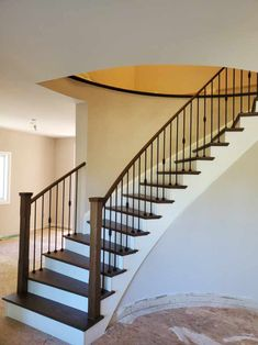 From colonial oak to refreshed chocolate brown. Refinish Staircase, Staircase Railings, Stair Treads, Stairs, Chocolate Brown, Colonial, Home Decor, Stairway, Decoration Home