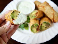 Avocado Egg Rolls with Creamy Cilantro Ranch Dip