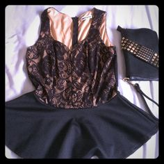 Bundle of black lace overlay tops The first top is a peplum top with a nude background and black lace overlay. The second top is a crop top that features a black lace overlay. Tops