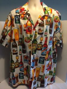Hilo-Hattie-Hawaiian-Cotton-Button-Shirt-Sz-2XL-Local-Brewery-Ale-IPA-Stout-Bar