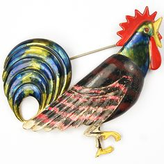 Coro Enamelled Rooster Pin
