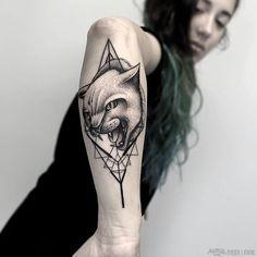 Best Geometric Tattoo - Fresh Blackwork Arm Tattoo From Otheser! #blackwork #cat #arm #dotwork #dotism #...