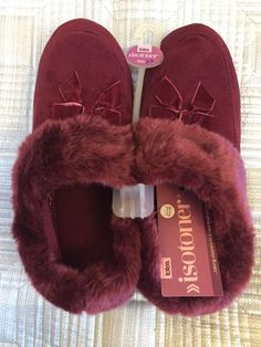 TOTES ISOTONER Ladies slippers UK7 EU40 BNWT Machine Washable Poll on slippers