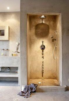 - Bathrooms - comment avoir la plus belle salle de bain avec beton cire sur le sol how to have the most beautiful bathroom with wax concrete on the floor Beautiful Bathrooms, Modern Bathroom, Small Bathroom, Casa Clean, Bathroom Layout, Bathroom Cabinets, Bathroom Ideas, Minimalist Home, Minimalist Bathroom