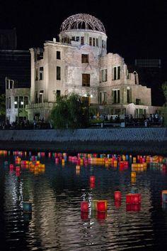 hiroshima bomb ceremony lanterns Re-Pinned by HistorySimulation.com