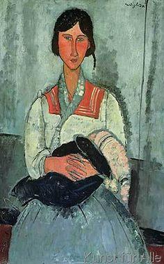 Amedeo Modigliani - Gypsy Woman with a Baby, 1919