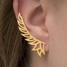 Wings φτερό αυτί σφαλιάρα σκουλαρίκι, 925 σκουλαρίκια ασημένια μανσέτα αυτί, σκουλαρίκια Δήλωση μανσέτα, Ear ορειβάτης, υφή σκουλαρίκια