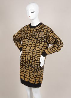 New With Tags Black and Gold Patterned Knit Wool Blend Sweater Dress