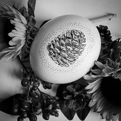 Pinecone Scrimshaw Ostrich Egg Autumn Decor by LeviathanBell