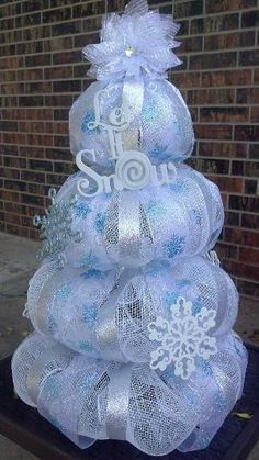 Let It Snow Deco Mesh Christmas Tree Centerpiece by marilyn