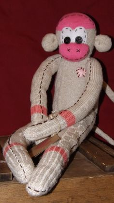 Katie Handstitched sock monkey. Stands approx 9 by ChikiMonkeys, $25.00