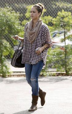 Jessica Alba--love the oversized plaid shirt