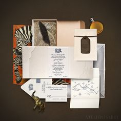 These stylish destination-inspired Atelier Isabay wedding invitations—featuring zebra patterns and other South African motifs—came in classic mailer boxes. Marriage Invitation Wordings, Acrylic Wedding Invitations, Bespoke Wedding Invitations, Letterpress Wedding Invitations, Destination Wedding Invitations, Wedding Stationary, Invites, Wedding Boxes, Wedding Paper