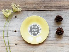 Upcycled Vintage Saucer: Home Sweet Home - Kitchen Decor - Altered Wall Hanging - Cozy Autumn - $13.50