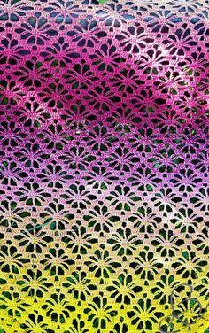 "Gratis - Gehäkeltes Schultertuch ""Fruity 'o' Tutty"" - Schachenmayr & Scheepjes Whirl - Häkeln / crochet - Knitted Shawls, Crochet Shawl, Free Crochet, Crochet Flower Patterns, Crochet Flowers, Colored Rope, How To Make Tassels, Crochet Wedding, Learn How To Knit"
