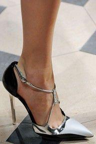 Chanel pumps in silver & black Women's Shoes, Me Too Shoes, Shoe Boots, Platform Shoes, Shoe Shoe, Jimmy Choo, Stilettos, Stiletto Heels, Talons Sexy