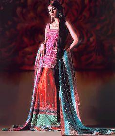 BW8112 Hot Pink & Deep Red Lehenga Colourful Pakistani Lehenga having Patch Work Amazing Styled Bridal Wear  Amazing colors~sublime...yes