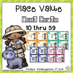 Place value task cards. Numbers 10 thru 59.  Grades: Kindergarten, 1st, and 2nd.