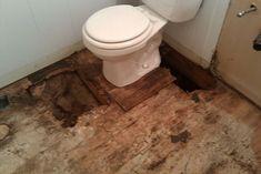 It might be necessary to repair the subfloor before doing a bathroom floor repair or remodeling job. Mobile Home Redo, Mobile Home Repair, Diy Home Repair, Remodeling Mobile Homes, Home Remodeling, Kitchen Remodeling, Diy Flooring, Bathroom Flooring, Subfloor Repair
