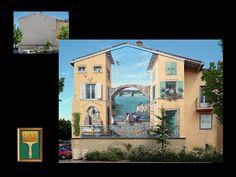Graffitis franceses. Graffiti aka trompe l'oeil!