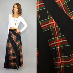 TARTAN PLAID vtg 70's bias-cut plaid grunge classic rocker MAXI supermodel skirt, extra small-small