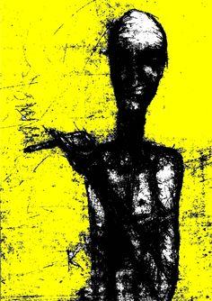yellow smoker, originally drypoint Posters, Silhouette, Yellow, Art, Poster, Art Background, Kunst, Performing Arts, Billboard