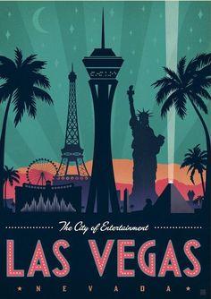 Las Vegas City, Las Vegas Trip, Grafic Art, Golden Knights, Alcohol Markers, Poster Ideas, Landscape Illustration, City Art, Vintage Travel Posters