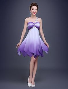 Cocktail Party Dress A-line One Shoulder Knee-length Chiffon with Crystal Detailing