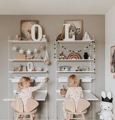 How adorable is this childrens play/study area by Featuring the popular String Shelving System avai. Childrens Room Decor, Kids Decor, Girl Room, Girls Bedroom, Scandinavian Kids Rooms, Br House, Kids Study, Study Areas, Toy Rooms