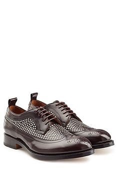 In chestnut brown leather with a smattering of stud embellishments, these Dsquared2  lace-ups are a classic style reimagined. Wear them for nights out or to the office - they're easy to dress up or down #Stylebop